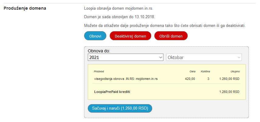 Produzenje domena na vise godina