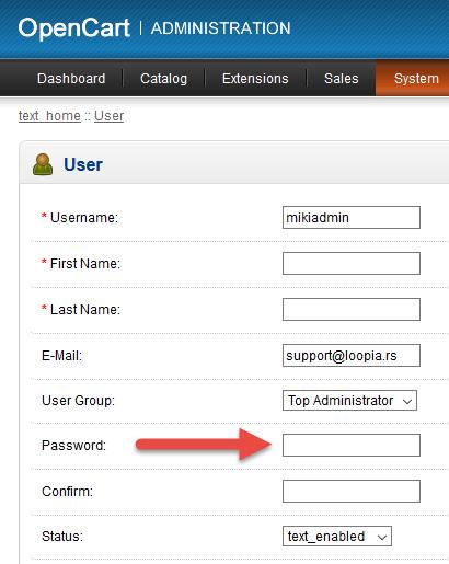 OpenCart lozinka 3