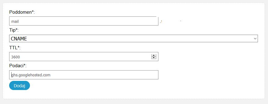 Google mail poddomen